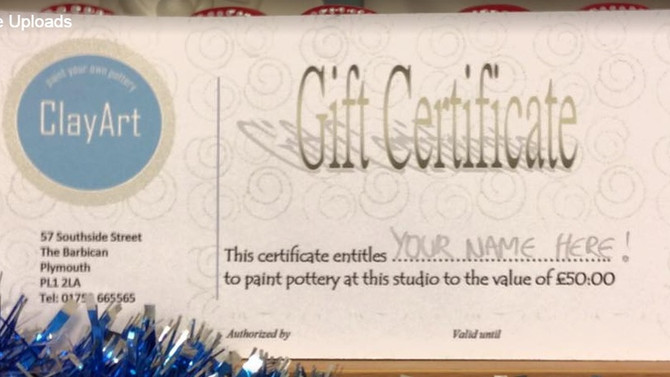 ClayArt gift certificates - a perfect present for a creative people!