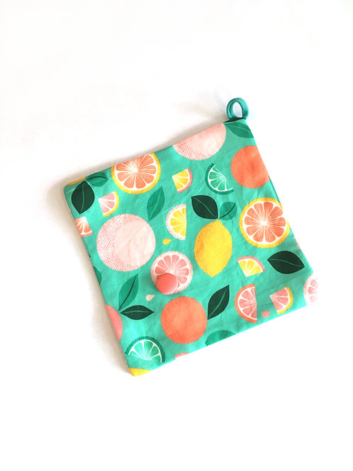 Pochette savon coton/ gants bambou lavable - Agrumes