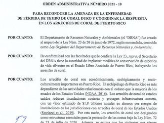 Secretario del DRNA firma orden para proteger los corales en Puerto Rico