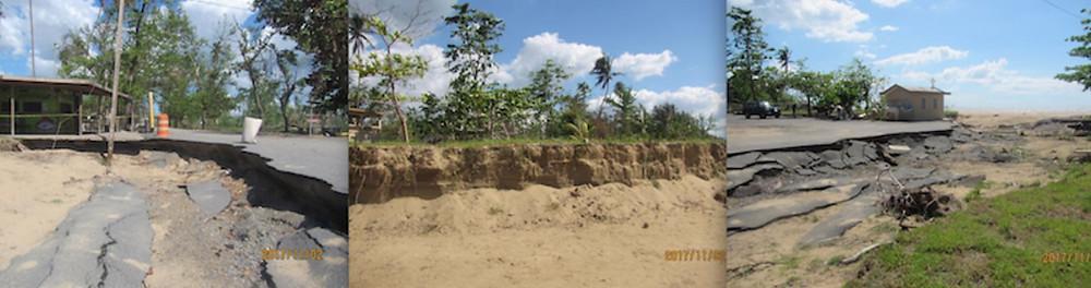 Cortes de erosión en la playa El Puente en Añasco. (Cortesía de Maritza Barreto)