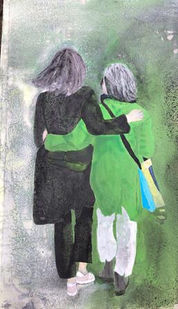 Mor og datter på vej