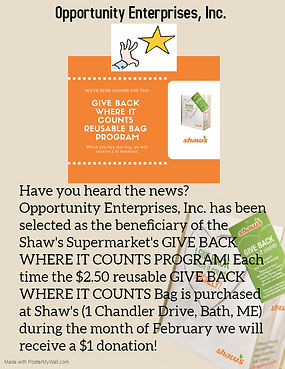 GIVE BACK WHERE IT COUNTS PROGRAM flyer