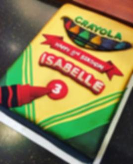 A custom crayon box cake