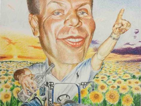 Színes ceruza karikatúra - Traktoros