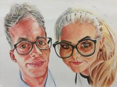 Színes ceruza karikatúra - Szemüveg