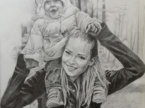 Grafit portré - Unokahugival