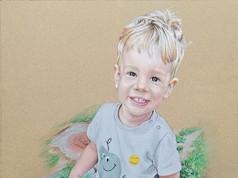 Pasztell portré - Kismotoros fiú