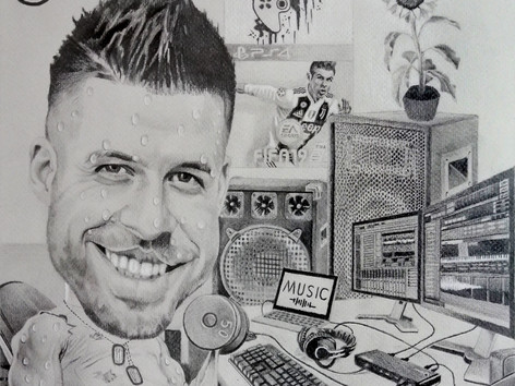 Grafit karikatúra - Music maker