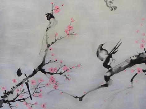 SUMI-E - Cseresznyefa madarakkal - BAL