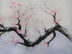 SUMI-E - Cseresznyefa madarakkal - JOBB