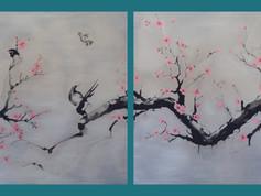 SUMI-E - Cseresznyefa madarakkal