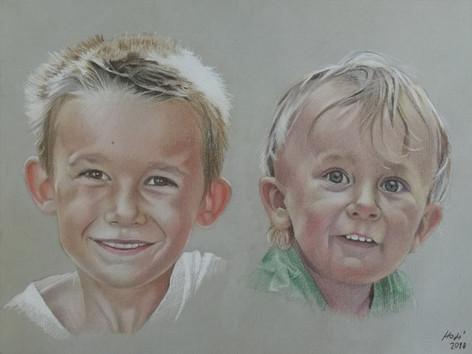 Pasztell portré - Testvérek