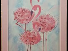 Falikép - Flamingók