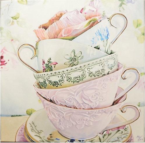 """""""Virágos csészék"""" olajfestmény, csendélet"""