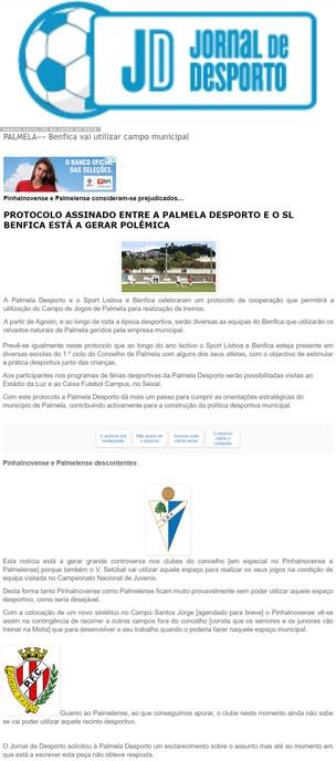 Jornal de Desporto Noticia, Protocolo assinado entre a Palmela Desporto e o Sport Lisboa e Benfica