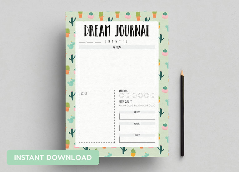 DREAM JOURNAL 'CACTUS' | A4 + US LETTER PDFs INCLUDED | INSTANT DOWNLOAD
