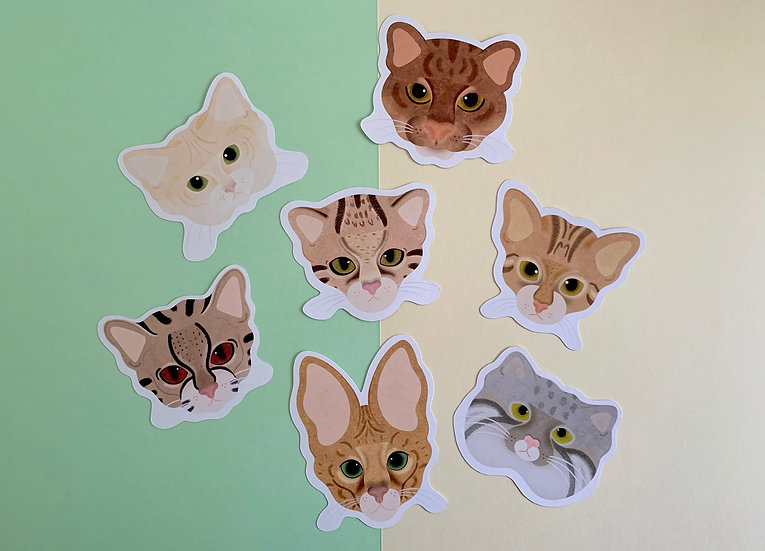 'Little Wild Cats' Sticker Pack | Paper Stickers | 7 Stickers Included
