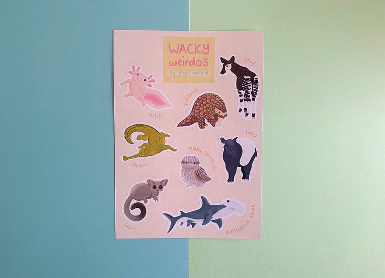 'Wacky Weirdos' Sticker Sheet | A6 size | 2 Sheets Included