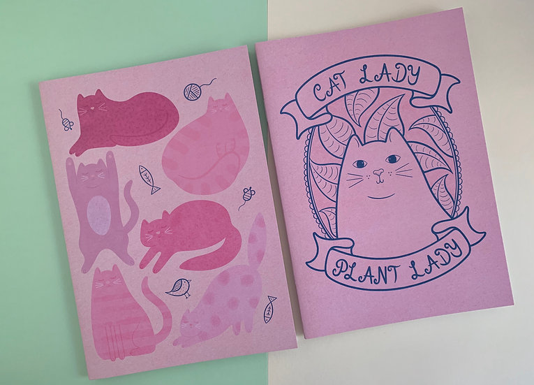 'Cat Lover' Notebook Set of 2   48 Pages   A5 Size