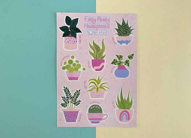 'Easy Peasy Houseplants' Sticker Sheet | A6 size | 2 Sheets Included
