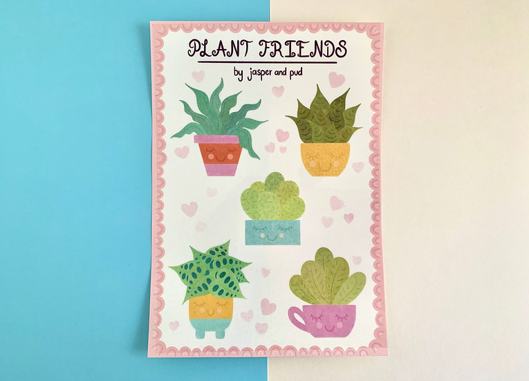 'Plant Friends' Temporary Tattoo Sheet | A5 size | 5 Plant Tattoos Included