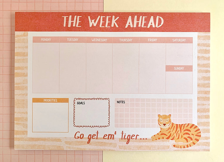 'The Week Ahead' Weekly Planner Notepad | A4 size | 52 Sheets