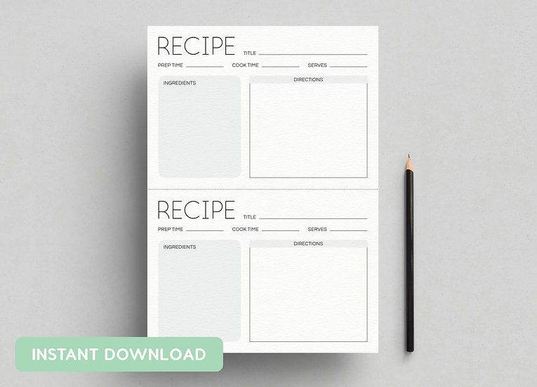 RECIPE CARDS 'MINIMAL' | A4 + US LETTER PDFs INCLUDED | INSTANT DOWNLOAD