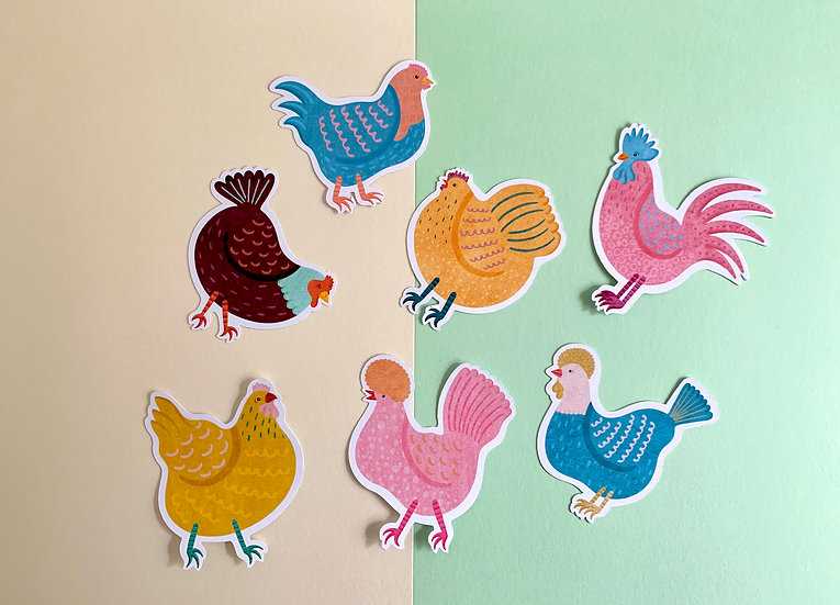 'Cool Chicks' Sticker Pack | Paper Stickers | 7 Stickers Included