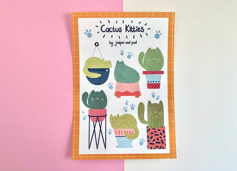 'Cactus Kitties' Temporary Tattoo Sheet | A5 size | 6 Cat Tattoos Included