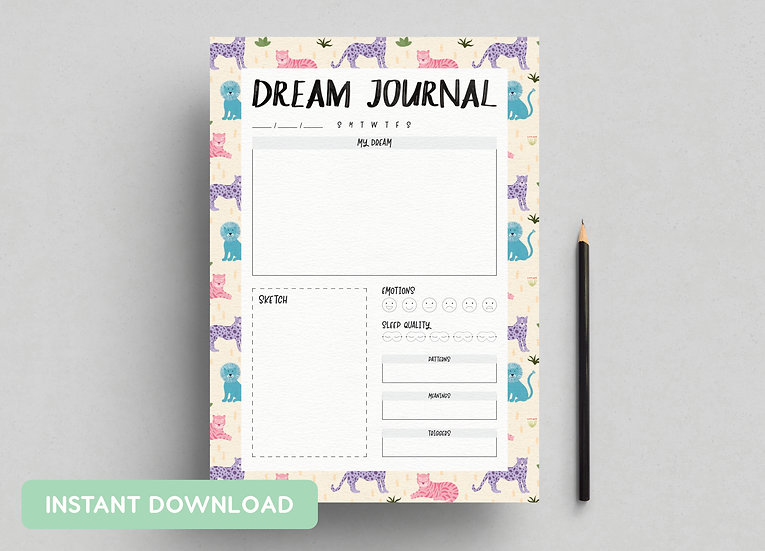 DREAM JOURNAL 'BIG CATS' | A4 + US LETTER PDFs INCLUDED | INSTANT DOWNLOAD