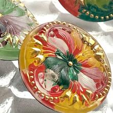 チェコのガラスボタン(パンジー)