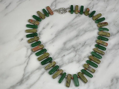 Unakite and Aventurine Necklace