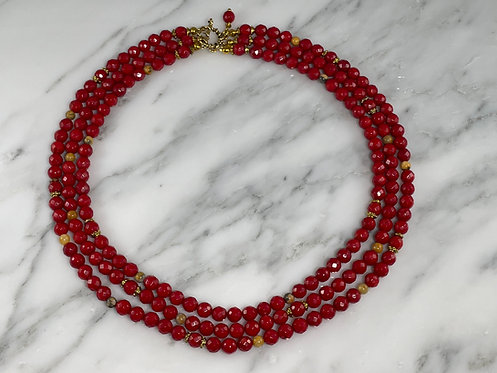 Triple Strand Red Coral Necklace