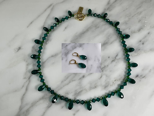 Swarovski Emerald Briolette Necklace and Matching Earrings