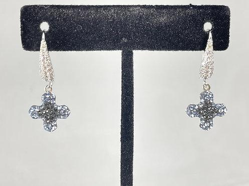 Swarovski Crystal, Greek Cross Silver Night Earrings
