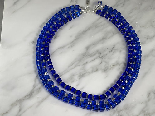 Blue Crystal and Hematite Necklace