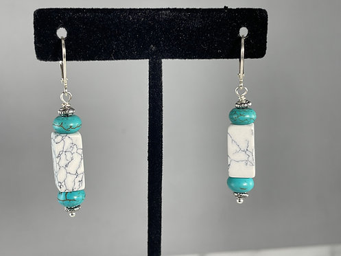 Sterling Silver Howlite Earrings
