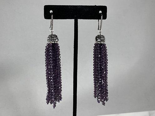 Amethyst Crystal Tassel Earrings