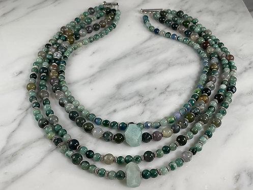 Moss Agate & Amazonite Multi Strand Necklace