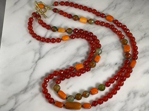 Carnelian, Agate and Quartzite Necklace