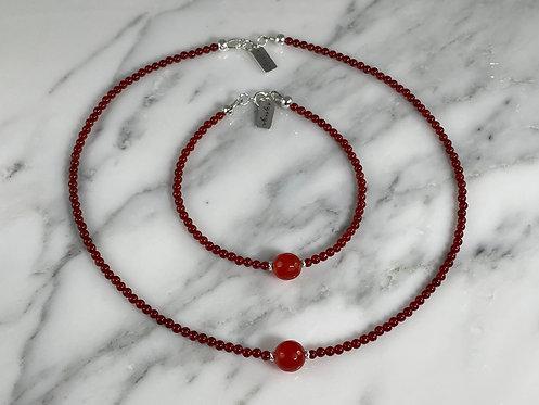 Carnelian Necklace and Bracelet Set