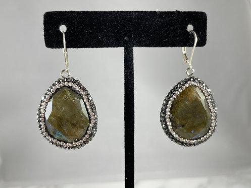 Labradorite and Crystal Earrings
