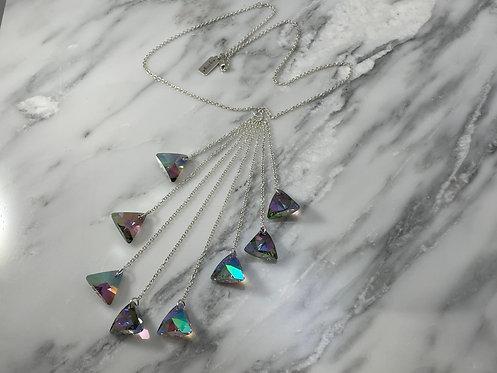 Sterling Silver Tassel  Necklace with Swarovski Crystals