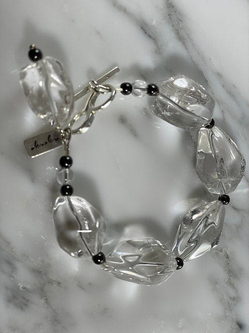 Clear Quartz and Hematite Bracelet