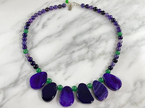 Purple Agate and Green Aventurine Necklace