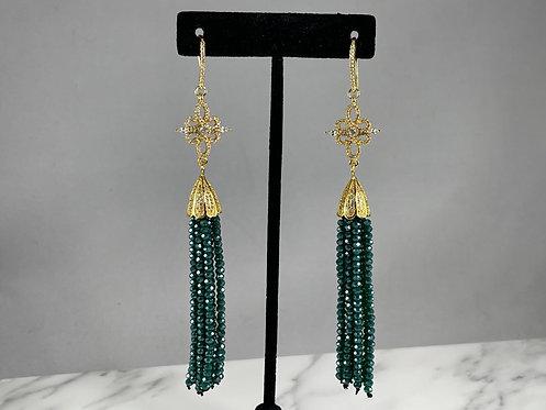 Teal Crystal Tassel Earrings
