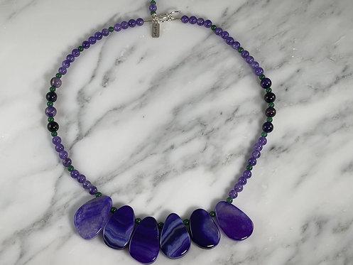 Amethyst, Sliced Agate, Aventurine Necklace