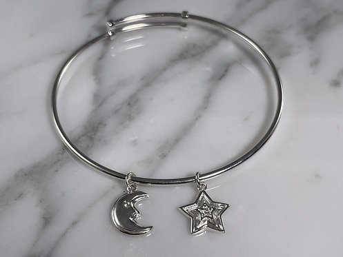 Expandable Moon And Star Bangle Bracelet