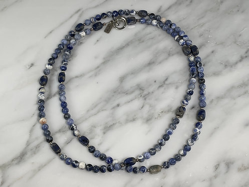 Sterling Silver Convertible Sodalite Necklace