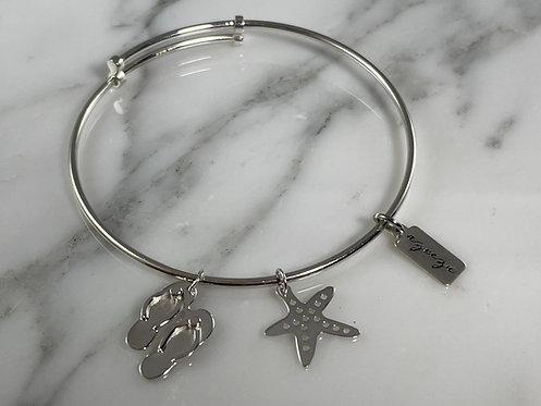 Expandable Flip Flop Slipper and Starfish Bangle Bracelet